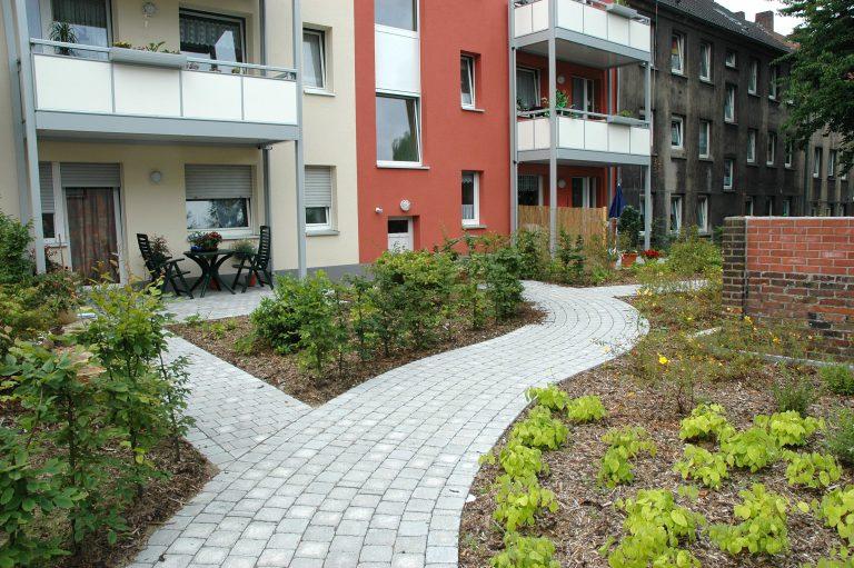 Tewes-Kampelmann Galabau Herne Neuanlage in Herne mit Bepflanzung Pflasterarbeiten Sichtschutz - HGW Möhrickestraße (18)