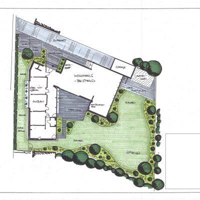 Tewes-Kampelmann Galbau in Herne Beratung und Planung Pläne verschiedener Bauvorhaben für Privatgärten, Wohnungsbau und öffentliche Anlagen unkenntlich