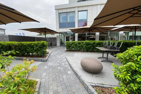Tewes-Kampelmann Garten- und Landschaftsbau aus Herne Neuanlage Galabau mit Bepflanzung Pflasterung Terrasse Cafeteria EVK Herne (6)